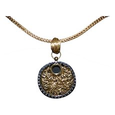 Vintage sterling silver-gold plated pendant with zirconia and chain