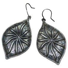 Vintage sterling silver earrings leaf shaped