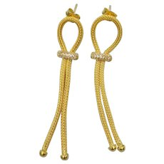 Sterling silver-gold plated mesh earrings with cz