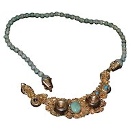 Vintage sterling silver gold plated handmade Turkish necklace with turquoise