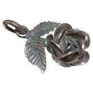 Vintage sterling silver handmade rose pendant