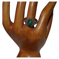 Vintage handmade filigree sterling silver malachite ring