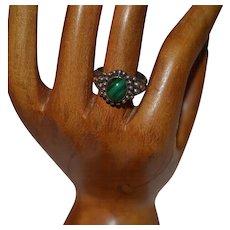 Vintage handmade filigree sterling silver malachite ring