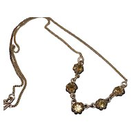 Vintage sterling silver citrine chain necklace