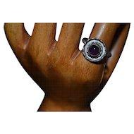 Vintage sterling silver handmade amethyst ring