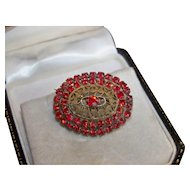 Vintage Czech filigree ruby red rhinestone brooch