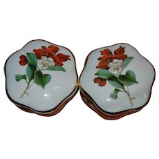 Royal Worcester Palissy trinket boxes set of two