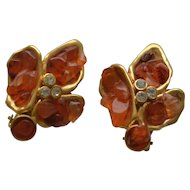 Vintage gold tone clip on agate earrings