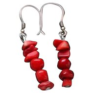Vintage handmade coral earrings