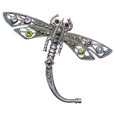 "Vintage sterling silver marcasite brooch ""dragonfly"""