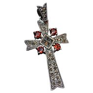 Vintage sterling silver marcasite cross pendant with garnet