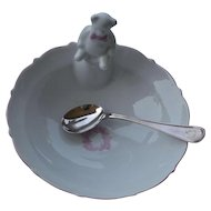 French porcelain feeding bowl for baby girls with silver spoon