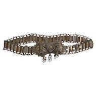 Late 19th century metallic filigree belt