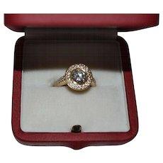 Vintage 18K gold handmade diamond ring