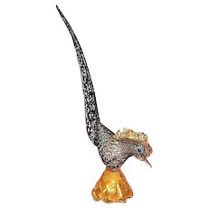 Vintage  Murano mouth blown glass bird statue