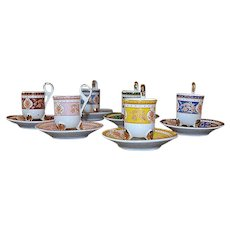 Vintage set of 6 coffee cups and saucers fine russian porcelain