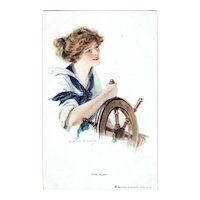 T. Earl Christy The Pilot Vintage Postcard Lady Sailor Pin-up Girl
