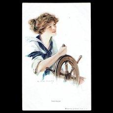 T. Earl Christy The Pilot Vintage Postcard Lady Sailor Pin-up Girl
