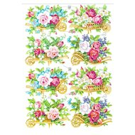 Vintage Die-cut Scrap Flower Carts With Roses Pzb Germany