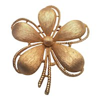 Vintage Trifari Satin Gold Tone Flower Pin Crown Mark