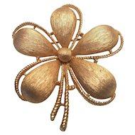 Vintage Trifari Satin Gold Tone Flower Pin Crown Mark