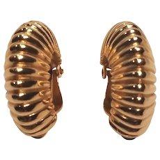 Vintage Trifari Gold Tone Clip Earring Crown Mark