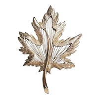 Vintage Monet Fall Maple Leaf Pin With Wire Insert