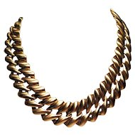 Vintage Monet Runway Chunky Gold Tone Satin Chain Link Statement Necklace