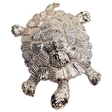 Vintage Gerry's Signed Turtle Pin with Rhinestone Eyes
