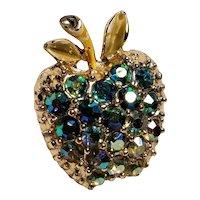 Vintage Gold Tone AB Rhinestones Apple Pin with Enamel Leaves