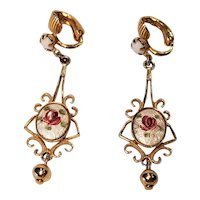 Vintage Clip Earrings With Enamel Roses And White Rhinestones Gold Tone Metal Filigree