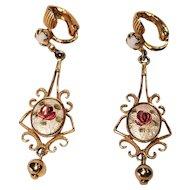 Vintage Clip Earrings With Enamel Roses And White Rhinestones Gold Tone Metal Filigree