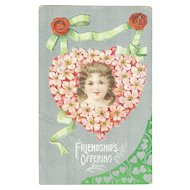 Vintage Postcard Friendship's Offering Flower Heart with Ribbon