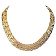 Vintage Napier Zig Zag Pattern Articulated Gold Tone Metal Choker Necklace