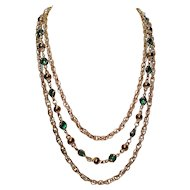 Vintage Three Layer Gold Tone Chain with Green Oval Glass Beads and Balls