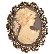 Vintage Cameo In Gold Tone Filigree Frame by Beatrix Jewels