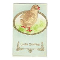 Vintage Postcard Easter Greetings with Applied Embossed Paper Chick