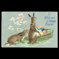 Vintage Postcard Tuck's To Wish you A Happy Easter Bunny's and Basket Eggs
