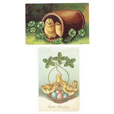 Vintage Postcards Easter Set Baby Chicks in Barrel and Chicks In Basket With Shamrocks