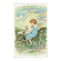 Vintage Postcard Easter Greetings Little Girl With Lambs On Hillside