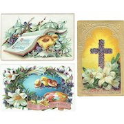Vintage Postcards Easter Lot of Three Cards Two Baby Chicks and Easter Cross Greetings Cards