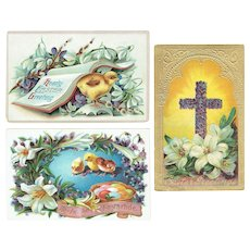 Vintage Postcards Easter Lot Two Baby Chicks and Easter Cross Greetings Cards
