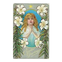 Vintage Postcard Easter Greetings Little Girl At Prayer Easter Lilies