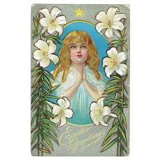 Vintage Postcard Easter Greetings Little Girl At Prayer Easter Lilies