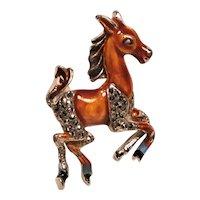 Vintage Enamel Running Horse Marcasite Animal Pin
