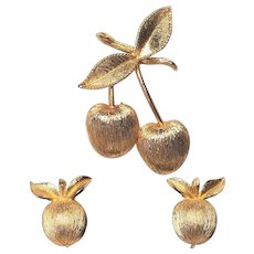 Vintage Sarah Coventry Gold Cherries Pin and Clip Earrings Set  Satin Gold Metal