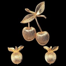 Vintage Sarah Coventry Cherries Pin and Clip Earrings Set