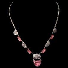 Vintage Pink Art Deco Filigree Rhodium Sliver Plated Czech Glass Stone Necklace