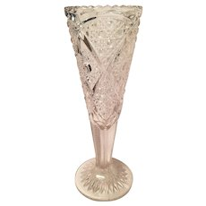 EAPG Early American Pattern Glass 11 inch Trumpet Vase Hobstar and Cane Pattern