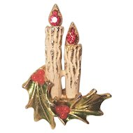 Vintage Unsigned ART Double Candle Christmas Pin With Holly